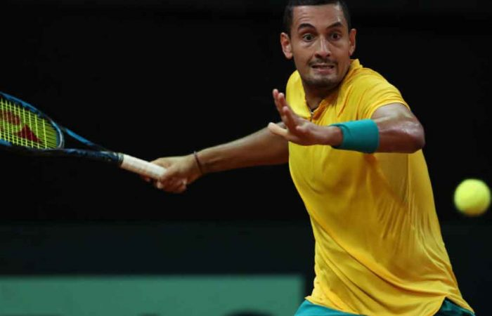 Nick Kyrgios in his five-set win over Steve Darcis in Brussels; Getty Images