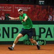 John Millman practises in Belgium ahead of his Davis Cup debut for Australia
