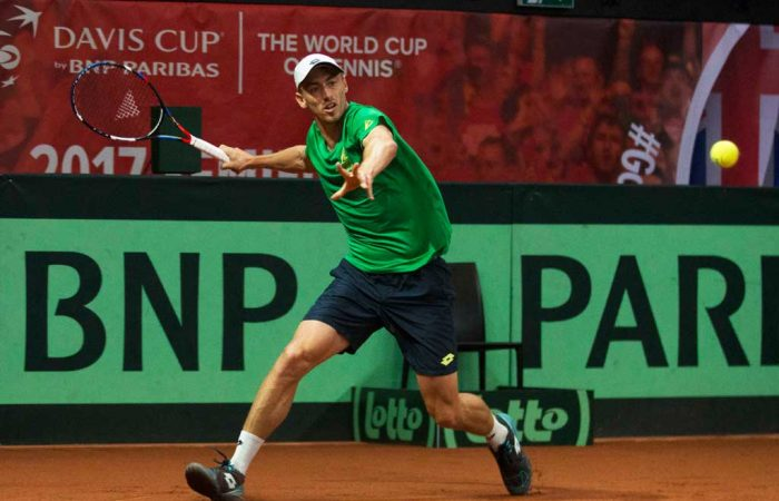 John Millman practises in Belgium ahead of his Davis Cup debut for Australia