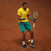 Nick Kyrgios celebrates his five-set win over Steve Darcis in the Davis Cup semifinal in Belgium; Getty Images