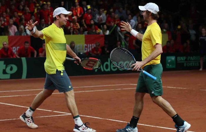 John Peers and Jordan Thompson celebrate their convincing win in Belgium; Getty Images
