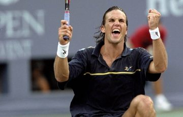 Pat Rafter celebrates after clinching match point over Greg Rusedski in the final of the 1997 US Open in New York; Getty Images