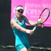 Sam Stosur in action at the WTA Japan Women's Open Tennis in Tokyo (photo credit Akira Ando)