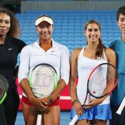 Destanee Aiava (centre left) and Jaimee Fourlis (centre right) had the chance to meet Serena Williams and Kei Nishikori during the Australian summer; Getty Images