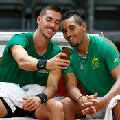 Thanasi Kokkkinakis and Nick Kyrgios ahead of the Davis Cup semifinal in Belgium.