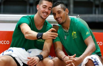 Thanasi Kokkkinakis and Nick Kyrgios ahead of the Davis Cup semifinal in Belgium.