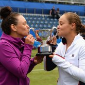 Casey Dellacqua (L) and Ash Barty celebrate their triumph in Birmingham, one of their three WTA titles in 2017; Getty Images