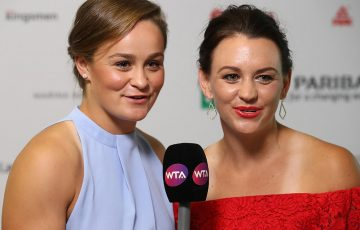 Ash Barty (L) and Casey Dellacqua at the WTA Finals doubles draw ceremony in Singapore; Getty Images