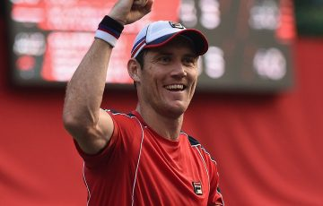 Matt Ebden celebrates his victory over Ivo Karlovic in the first round of the Rakuten Japan Open in Tokyo; Getty Images