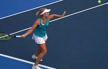Daria Gavrilova in action during her quarterfinal victory over Lizette Cabrera in Hong Kong; Getty Images