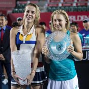 Daria Gavrilova (R) and Anastasia Pavlyuchenkova at the trophy presentation following the WTA Hong Kong Open final; Getty Images