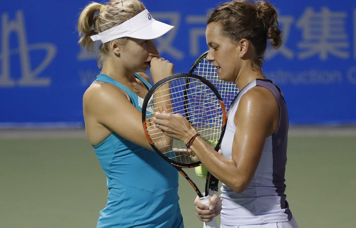 READY FOR BATTLE: After teaming up in doubles last week, Daria Gavrilova and Barbora Strycova are set to face-off in China Open third round; Getty Images