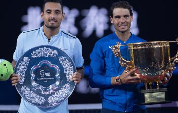 FINALISTS: China Open 2017 runner-up Nick Kyrgios and champion Rafael Nadal with their trophies; Getty Images