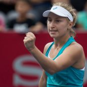 Australia's Daria Gavrilova reacts after a point against Jennifer Brady of the US during their women's singles semi-final match at the Hong Kong Open tennis tournament on October 14, 2017.  / AFP PHOTO / DALE DE LA REY        (Photo credit should read DALE DE LA REY/AFP/Getty Images)