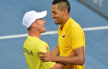 Lleyton Hewitt (L) celebrates with Nick Kyrgios after Kyrgios beat John Isner in Australia's 2017 Davis Cup quarterfinal against the USA; Getty Images