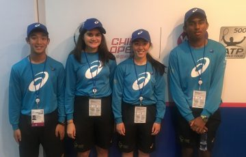 Australian Open ball kids Aidan Chu, Stacey Flaounas, Maddi Chong and Logithan Chandrakumar at the China Open this week.