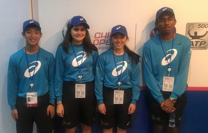 Australian Open ball kids Aidan Chu, Stacey Flaounas, Maddi Chong and Logithan Chandrakumar at the China Open this week.