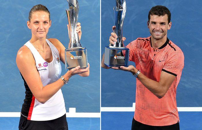 Brisbane International defending champions Karolina Pliskova (L) and Grigor Dimitrov will return to Queensland in 2018; Getty Images