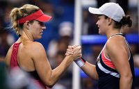 Ash Barty (R) shakes hands with Angelique Kerber after winning their round-robin match at the WTA Elite Trophy Zhuhai; Getty Images