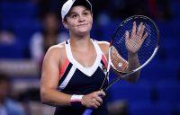 Ash Barty celebrates her round-robin victory over Anastasia Pavlyuchenkova in Zhuhai; Getty Images