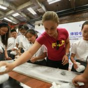 Ash Barty visited the Rong Hong School in Zhuhai; photo credit OSports