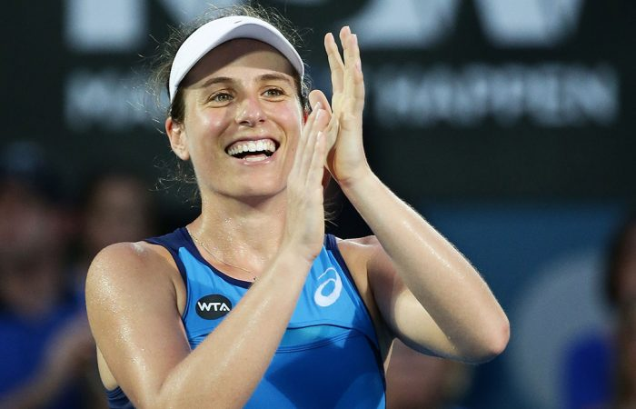 Johanna Konta celebrates her title at the Sydney International in 2017; Getty Images