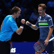 John Peers (L) and Henri Kontinen en route to victory over Jean-Julien Rojer and Horia Tecau at the ATP Finals; Getty Images