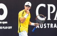 Soon Woo Kwon of South Korea celebrates his first-round victory at the Australian Open Asia-Pacific Wildcard Play-off in Zhuhai, China.
