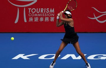 Lizette Cabrera in action at the WTA tournament in Hong Kong, where she reached the quarterfinals; Getty Images