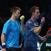 John Peers (L) and Henri Kontinen in action at the ATP Finals in London; Getty Images