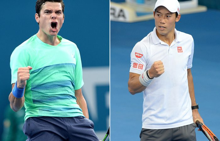 Milos Raonic (L) and Kei Nishikori are bound for the Brisbane International in 2018; Getty Images