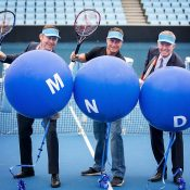 (L-R) Pat Cunningham, Lleyton Hewitt and Craig Tiley at a SmashMND launch event at Melbourne Park (photo credit Fiona Hamilton)