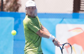Marc Polmans (AUS) in action during Day four of the Apis Canberra International #ApisCBRINTL. Match was played at Canberra Tennis Centre in Lyneham, Canberra, ACT on Tuesday 31 October 2017. Photo: Ben Southall. #Tennis #Canberra