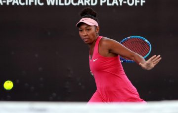 Abigail Tere-Apisah in action at the Australian Open Asia-Pacific Wildcard Play-off in Zhuhai, China.