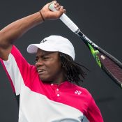 Benard Nkomba in action during the 18/u Australian Championships semifinals as part of the December Showdown at Melbourne Park; Elizabeth Xue Bai