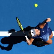 Daria Gavrilova serves to Eugenie Bouchard at the Hopman Cup; Getty Images