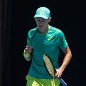 Alex De Minaur in action at the Australian Open 2018 Play-off; Elizabeth Xue Bai