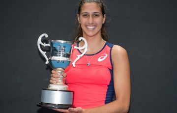 Jaimee Fourlis poses with the trophy after her victory over Destanee Aiava in the final of the 18/u Australian Championships at Melbourne Park; Elizabeth Xue Bai