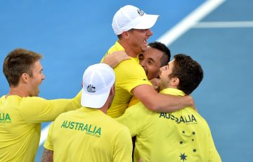 BRISBANE, AUSTRALIA - APRIL 09:  Team Captain Lleyton Hewitt of Australia celebrates victory with his team of Nick Kyrgios, Sam Groth, Jordan Thompson and Joh Peers after the match between Nick Kyrgios of Australia and Sam Querrey of the USA at the Davis Cup World Group Quarterfinals between Australia and the USA at Pat Rafter Arena on April 9, 2017 in Brisbane, Australia.  (Photo by Bradley Kanaris/Getty Images)