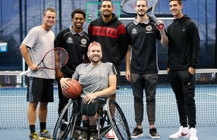 Australian Davis Cup captain Lleyton Hewitt and players Thanasi Kokkinakis, Nick Kyrgios and Dylan Alcott pose with Melbourne United NBL basketballers Chris Goulding and Casper Ware during an Australian Open announcement at Melbourne Park on December 6, 2017; Getty Images