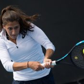 Jaimee Fourlis in action during the 18/u Australian Championships semifinals as part of the December Showdown at Melbourne Park; Elizabeth Xue Bai