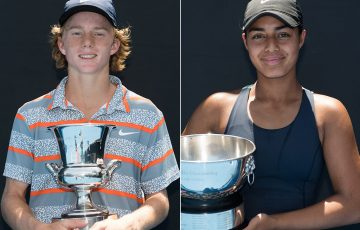 Dane Sweeny (L) and Annerly Poulos won the 16/u Australian Championships (photo credit Elizabeth Xue Bai)