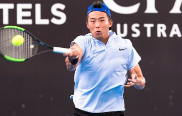 Zhang Ze in action at the Australian Open Asia-Pacific Wildcard Play-off in Zhuhai, China.