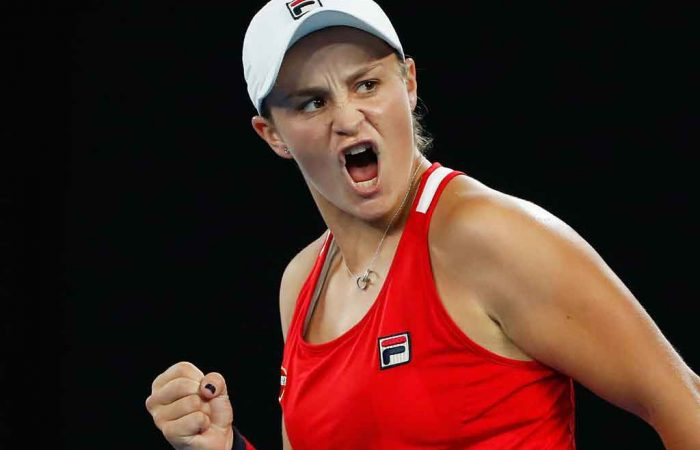 Ashleigh Barty roars during her second round victory on RLA.