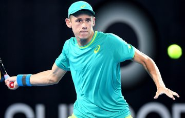 Alex De Minaur in action during his first-round victory over Steve Johnson at the Brisbane International; Getty Images