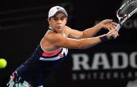 Ash Barty in action during her first-round loss to Lesia Tsurenko at the Brisbane International; Getty Images