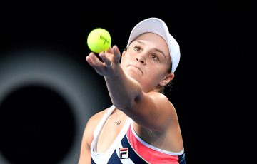 Ash Barty serves during her first-round loss to Lesia Tsurenko at the Brisbane International; Getty Images