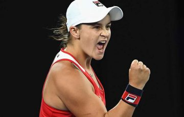 Ashleigh Barty celebrates a stunning comeback victory on Rod Laver Arena.