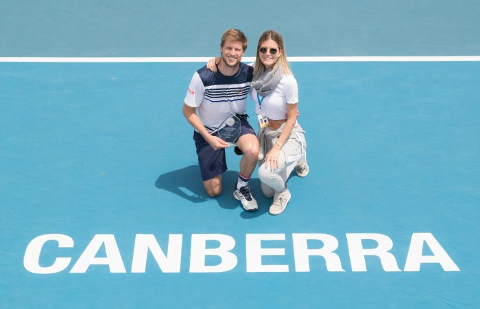 Andreas Seppi (ITA) and wife Michela Bernardi Seppit pose for photos after the Men's Singles final on Day eight of the East Hotel Canberra Challenger 2018 #EastCBRCH. Match was played at Canberra Tennis Centre in Lyneham, Canberra, ACT on Saturday 13 January 2018. Photo: Ben Southall. #Tennis #Canberra #ATPChallenger