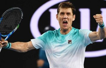 Matt Ebden roars in celebration at Melbourne Park.